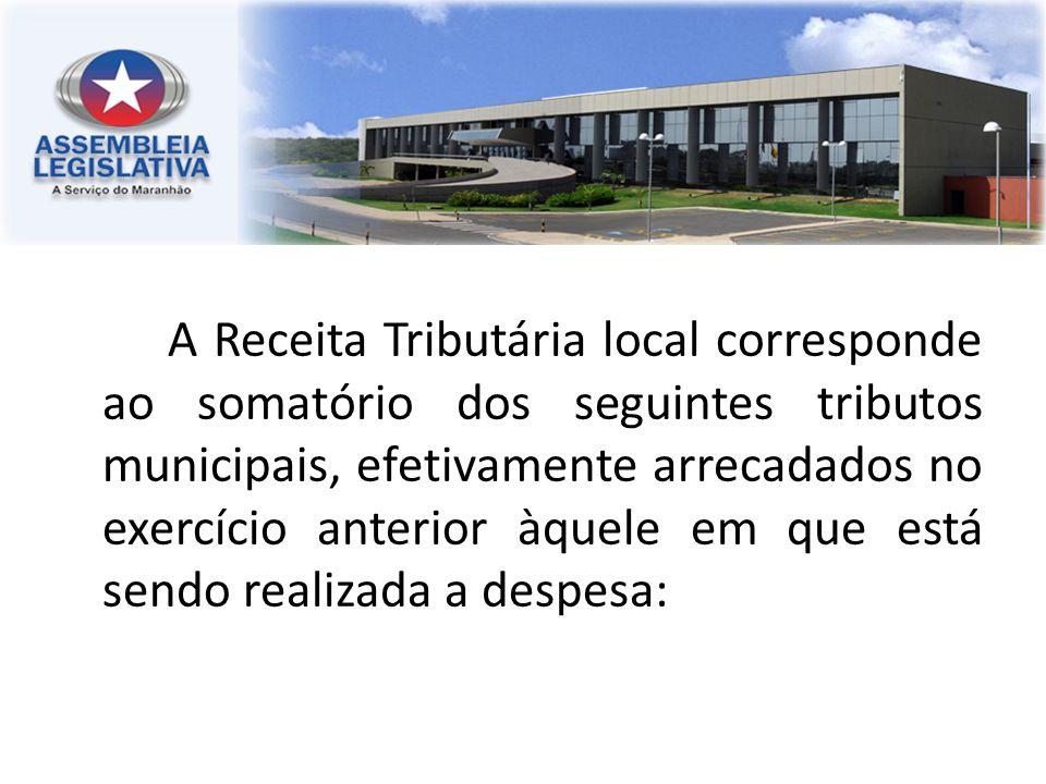 A Receita Tributária local corresponde ao somatório dos seguintes tributos municipais, efetivamente arrecadados no exercício anterior àquele em que es