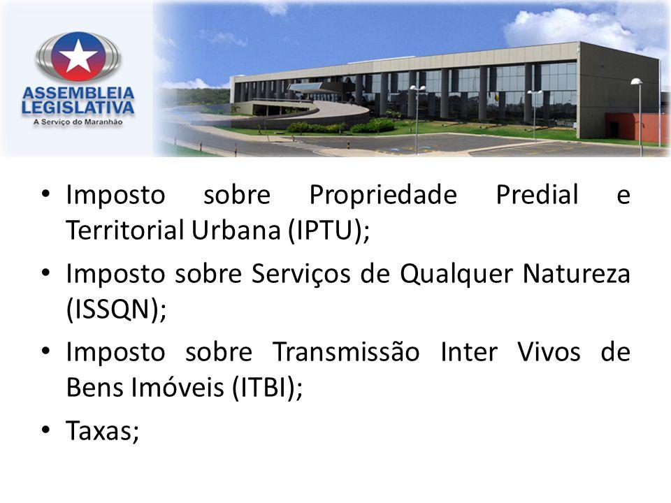 Imposto sobre Propriedade Predial e Territorial Urbana (IPTU); Imposto sobre Serviços de Qualquer Natureza (ISSQN); Imposto sobre Transmissão Inter Vi