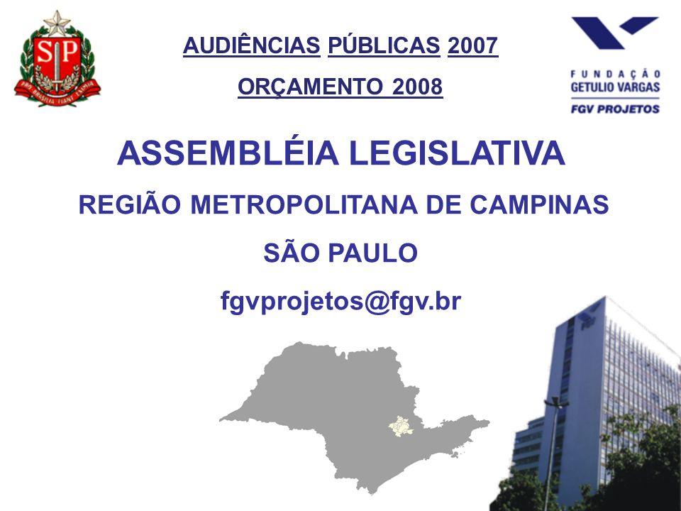 AUDIÊNCIAS PÚBLICAS 2007 ORÇAMENTO 2008 ASSEMBLÉIA LEGISLATIVA REGIÃO METROPOLITANA DE CAMPINAS SÃO PAULO fgvprojetos@fgv.br