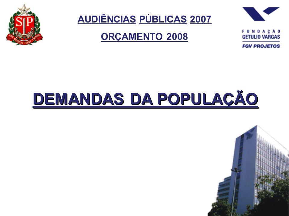 AUDIÊNCIAS PÚBLICAS 2007 ORÇAMENTO 2008 DEMANDAS DA POPULAÇÃO