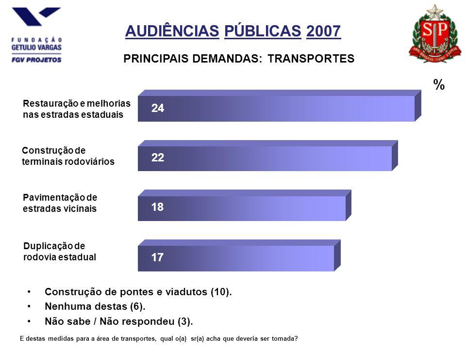 AUDIÊNCIAS PÚBLICAS 2007 PRINCIPAIS DEMANDAS: TRANSPORTES Construção de pontes e viadutos (10).
