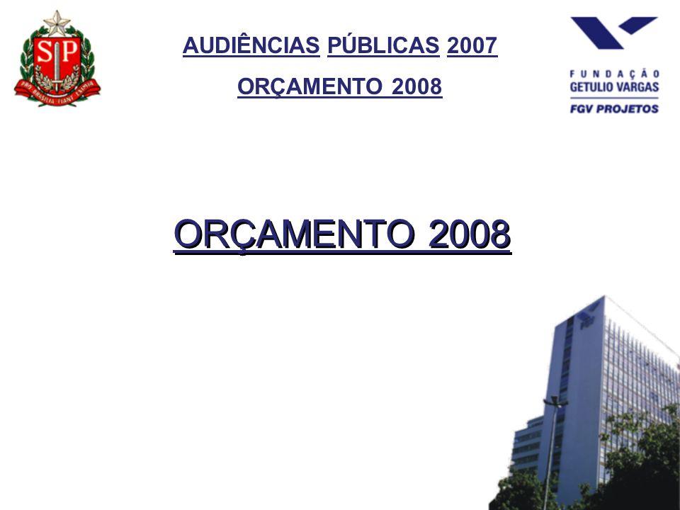 AUDIÊNCIAS PÚBLICAS 2007 ORÇAMENTO 2008