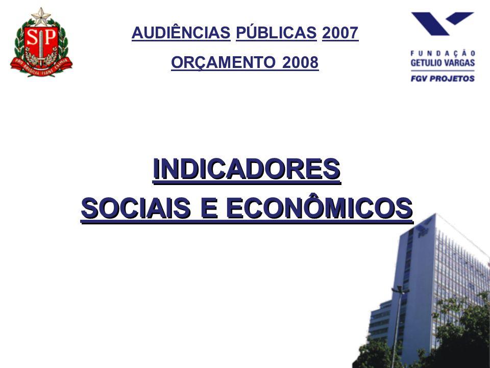AUDIÊNCIAS PÚBLICAS 2007 ORÇAMENTO 2008 INDICADORES SOCIAIS E ECONÔMICOS INDICADORES SOCIAIS E ECONÔMICOS