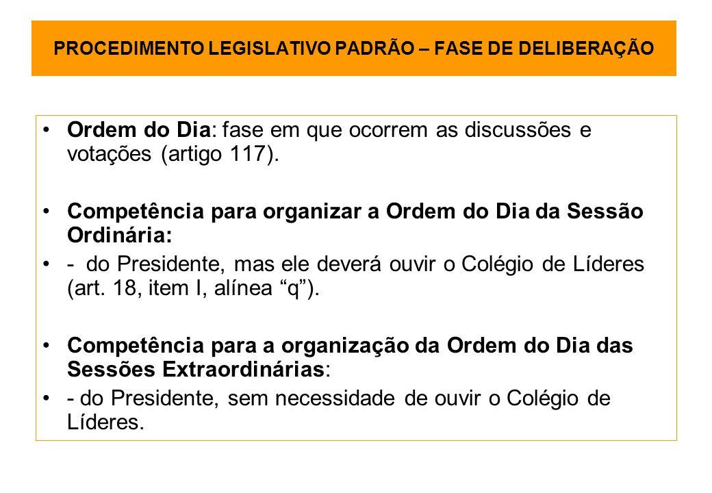 PROCEDIMENTO LEGISLATIVO PADRÃO – FASE DE DELIBERAÇÃO Ordem do Dia: fase em que ocorrem as discussões e votações (artigo 117).