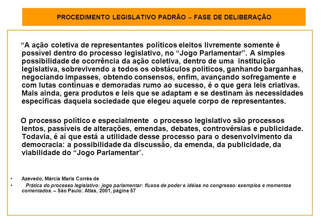 PROCEDIMENTO LEGISLATIVO PADRÃO – FASE DE DELIBERAÇÃO A ação coletiva de representantes políticos eleitos livremente somente é possível dentro do processo legislativo, no Jogo Parlamentar.