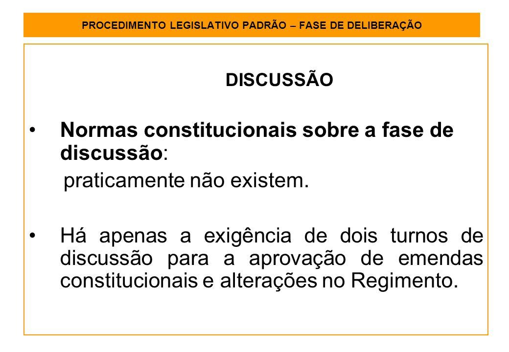 PROCEDIMENTO LEGISLATIVO PADRÃO – FASE DE DELIBERAÇÃO DISCUSSÃO Normas constitucionais sobre a fase de discussão: praticamente não existem.