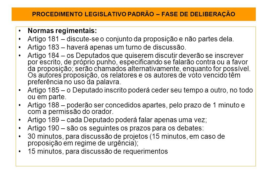 PROCEDIMENTO LEGISLATIVO PADRÃO – FASE DE DELIBERAÇÃO Normas regimentais: Artigo 181 – discute-se o conjunto da proposição e não partes dela.