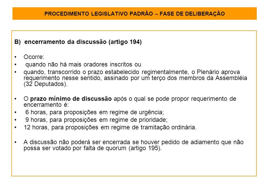 PROCEDIMENTO LEGISLATIVO PADRÃO – FASE DE DELIBERAÇÃO B) encerramento da discussão (artigo 194) Ocorre: quando não há mais oradores inscritos ou quando, transcorrido o prazo estabelecido regimentalmente, o Plenário aprova requerimento nesse sentido, assinado por um terço dos membros da Assembléia (32 Deputados).