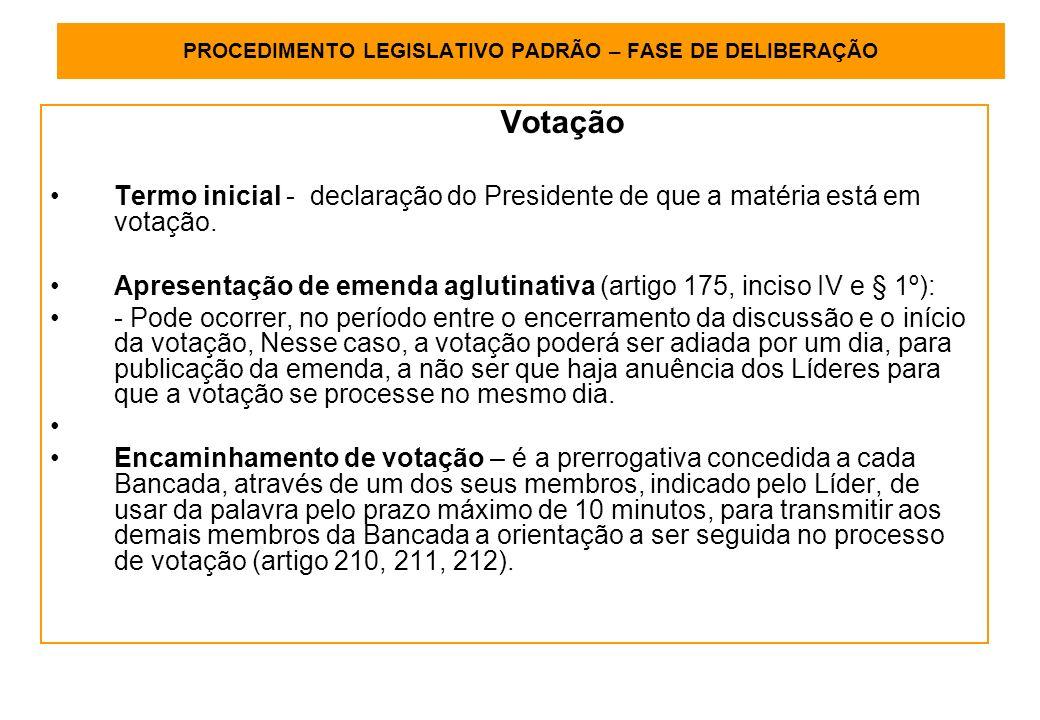 PROCEDIMENTO LEGISLATIVO PADRÃO – FASE DE DELIBERAÇÃO Votação Termo inicial - declaração do Presidente de que a matéria está em votação.