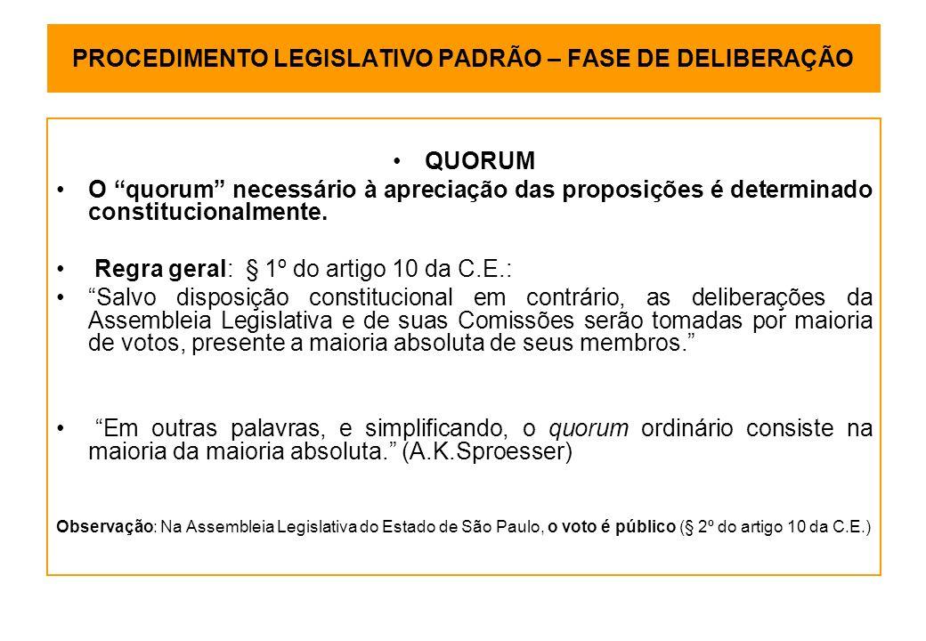 PROCEDIMENTO LEGISLATIVO PADRÃO – FASE DE DELIBERAÇÃO QUORUM O quorum necessário à apreciação das proposições é determinado constitucionalmente.