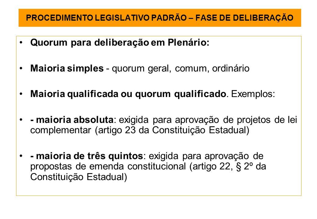 PROCEDIMENTO LEGISLATIVO PADRÃO – FASE DE DELIBERAÇÃO Quorum para deliberação em Plenário: Maioria simples - quorum geral, comum, ordinário Maioria qualificada ou quorum qualificado.