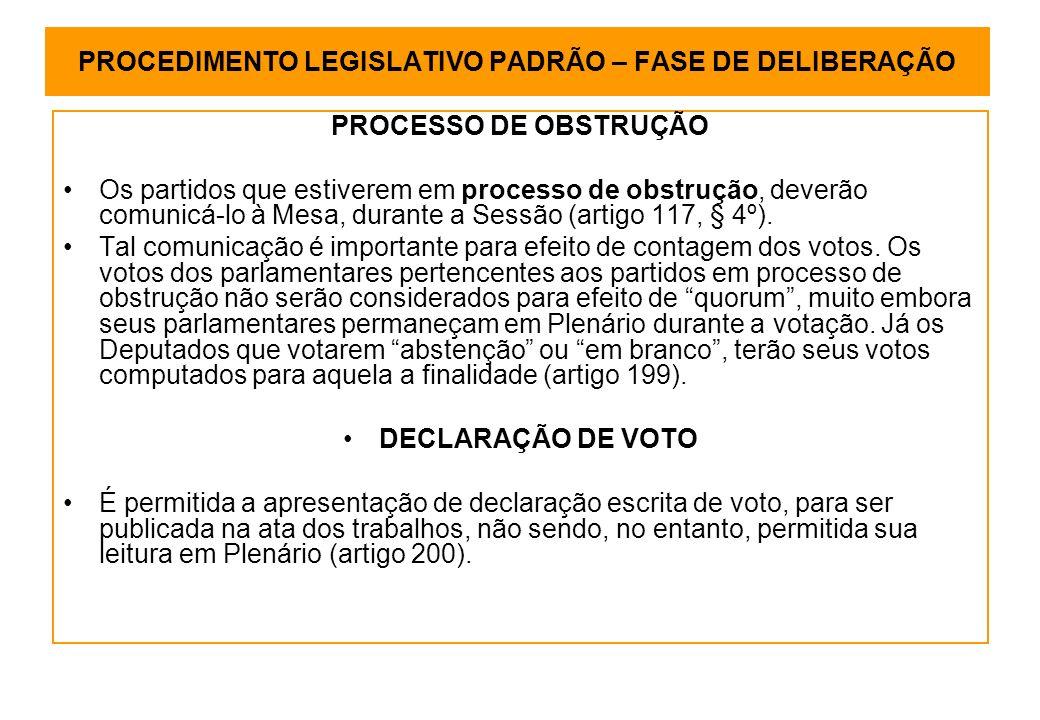 PROCEDIMENTO LEGISLATIVO PADRÃO – FASE DE DELIBERAÇÃO PROCESSO DE OBSTRUÇÃO Os partidos que estiverem em processo de obstrução, deverão comunicá-lo à Mesa, durante a Sessão (artigo 117, § 4º).