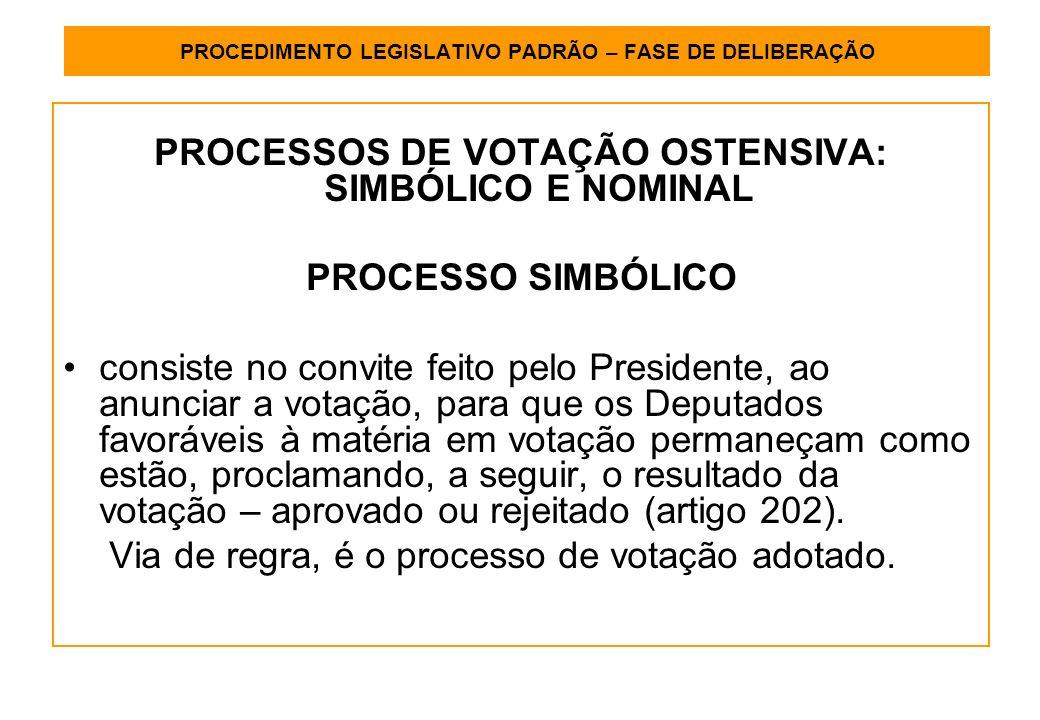 PROCEDIMENTO LEGISLATIVO PADRÃO – FASE DE DELIBERAÇÃO PROCESSOS DE VOTAÇÃO OSTENSIVA: SIMBÓLICO E NOMINAL PROCESSO SIMBÓLICO consiste no convite feito pelo Presidente, ao anunciar a votação, para que os Deputados favoráveis à matéria em votação permaneçam como estão, proclamando, a seguir, o resultado da votação – aprovado ou rejeitado (artigo 202).