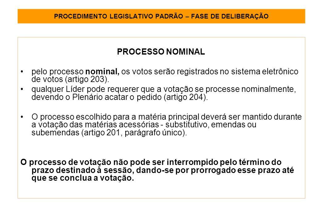 PROCEDIMENTO LEGISLATIVO PADRÃO – FASE DE DELIBERAÇÃO PROCESSO NOMINAL pelo processo nominal, os votos serão registrados no sistema eletrônico de votos (artigo 203).