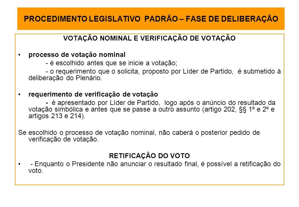 PROCEDIMENTO LEGISLATIVO PADRÃO – FASE DE DELIBERAÇÃO VOTAÇÃO NOMINAL E VERIFICAÇÃO DE VOTAÇÃO processo de votação nominal - é escolhido antes que se inicie a votação; - o requerimento que o solicita, proposto por Líder de Partido, é submetido à deliberação do Plenário.