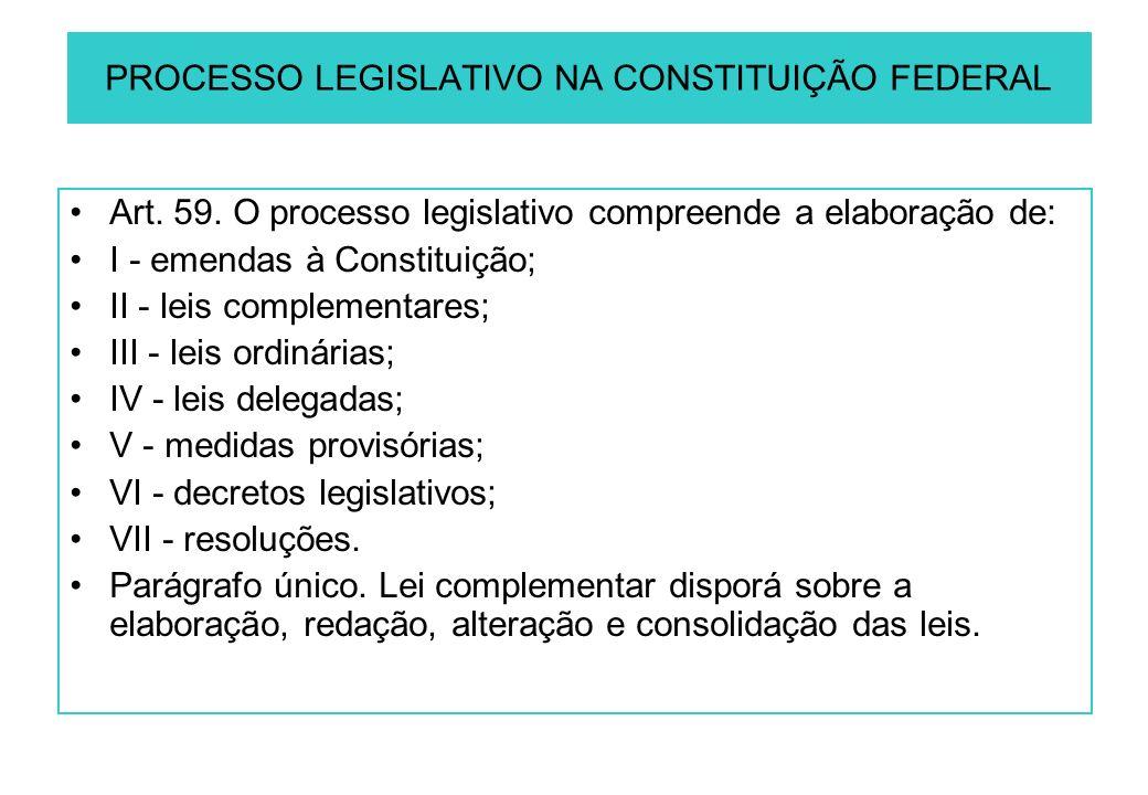 PROCESSO LEGISLATIVO NA CONSTITUIÇÃO FEDERAL Art. 59.