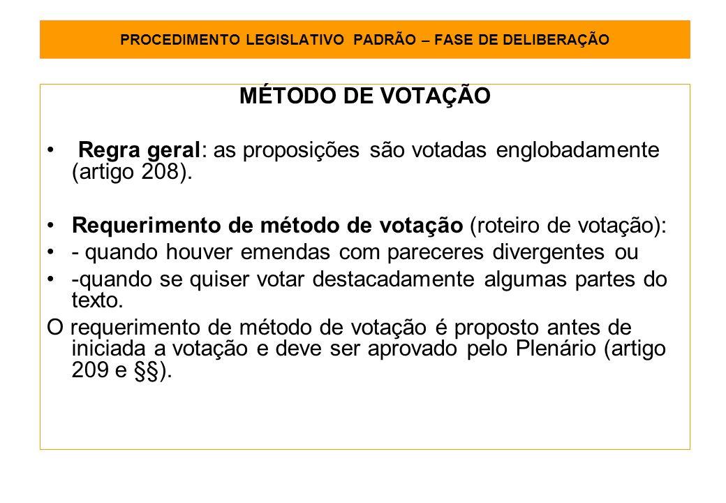 PROCEDIMENTO LEGISLATIVO PADRÃO – FASE DE DELIBERAÇÃO MÉTODO DE VOTAÇÃO Regra geral: as proposições são votadas englobadamente (artigo 208).