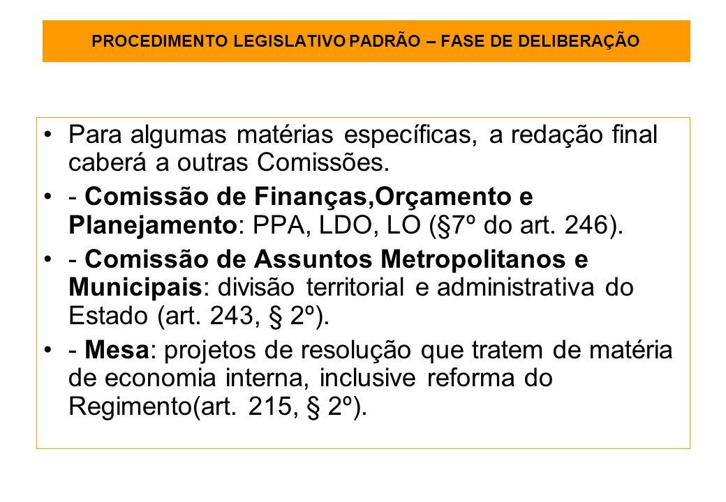 PROCEDIMENTO LEGISLATIVO PADRÃO – FASE DE DELIBERAÇÃO Para algumas matérias específicas, a redação final caberá a outras Comissões.