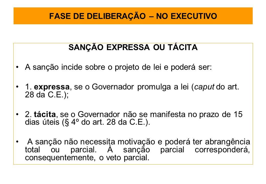 FASE DE DELIBERAÇÃO – NO EXECUTIVO SANÇÃO EXPRESSA OU TÁCITA A sanção incide sobre o projeto de lei e poderá ser: 1.