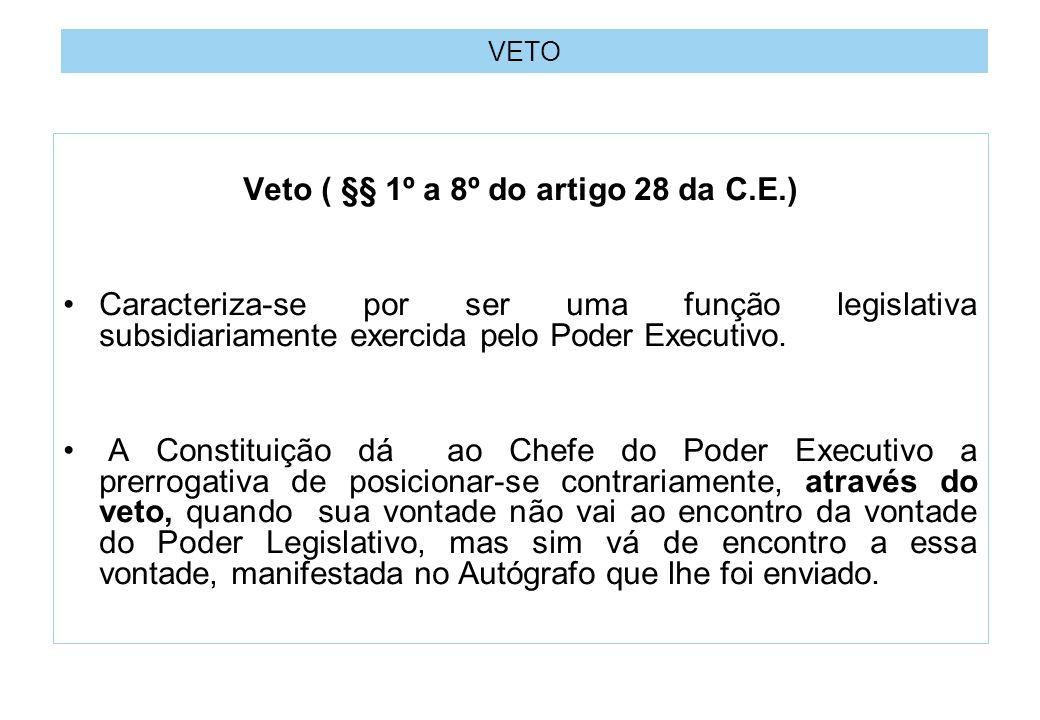 VETO Veto ( §§ 1º a 8º do artigo 28 da C.E.) Caracteriza-se por ser uma função legislativa subsidiariamente exercida pelo Poder Executivo.