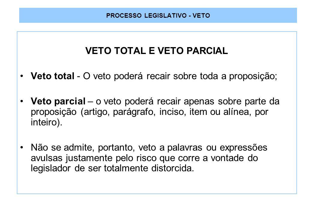 PROCESSO LEGISLATIVO - VETO VETO TOTAL E VETO PARCIAL Veto total - O veto poderá recair sobre toda a proposição; Veto parcial – o veto poderá recair apenas sobre parte da proposição (artigo, parágrafo, inciso, item ou alínea, por inteiro).