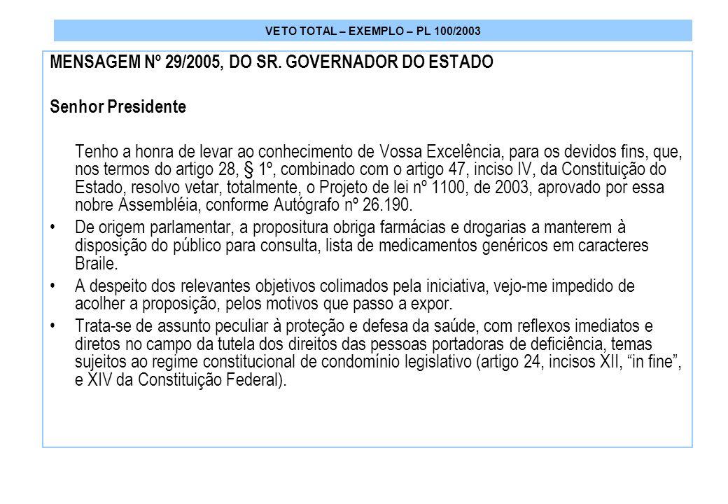 VETO TOTAL – EXEMPLO – PL 100/2003 MENSAGEM Nº 29/2005, DO SR.