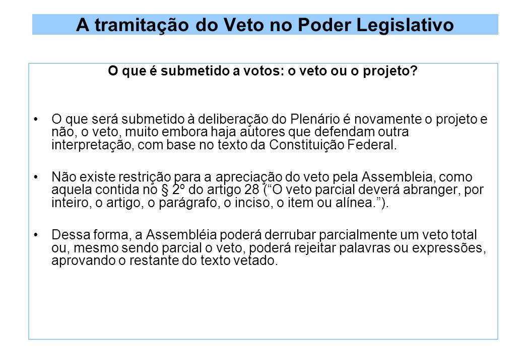 A tramitação do Veto no Poder Legislativo O que é submetido a votos: o veto ou o projeto.