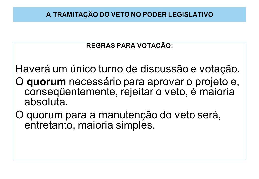 A TRAMITAÇÃO DO VETO NO PODER LEGISLATIVO REGRAS PARA VOTAÇÃO: Haverá um único turno de discussão e votação.
