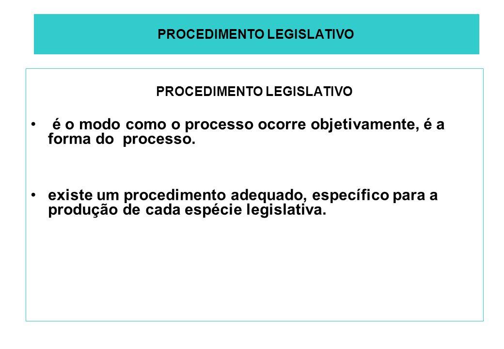 PROCEDIMENTO LEGISLATIVO é o modo como o processo ocorre objetivamente, é a forma do processo.