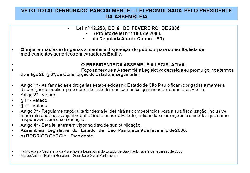 VETO TOTAL DERRUBADO PARCIALMENTE – LEI PROMULGADA PELO PRESIDENTE DA ASSEMBLÉIA Lei nº 12.253, DE 9 DE FEVEREIRO DE 2006 (Projeto de lei nº 1100, de 2003, da Deputada Ana do Carmo – PT) Obriga farmácias e drogarias a manter à disposição do público, para consulta, lista de medicamentos genéricos em caracteres Braille.