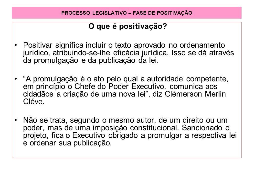 PROCESSO LEGISLATIVO – FASE DE POSITIVAÇÃO O que é positivação.