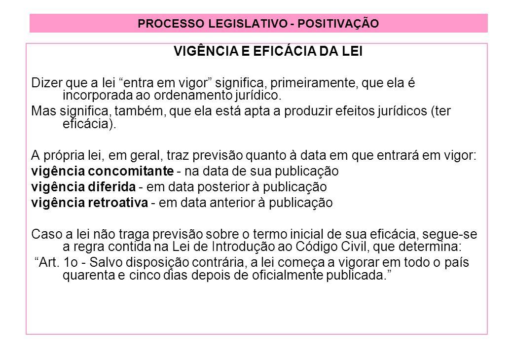 PROCESSO LEGISLATIVO - POSITIVAÇÃO VIGÊNCIA E EFICÁCIA DA LEI Dizer que a lei entra em vigor significa, primeiramente, que ela é incorporada ao ordenamento jurídico.