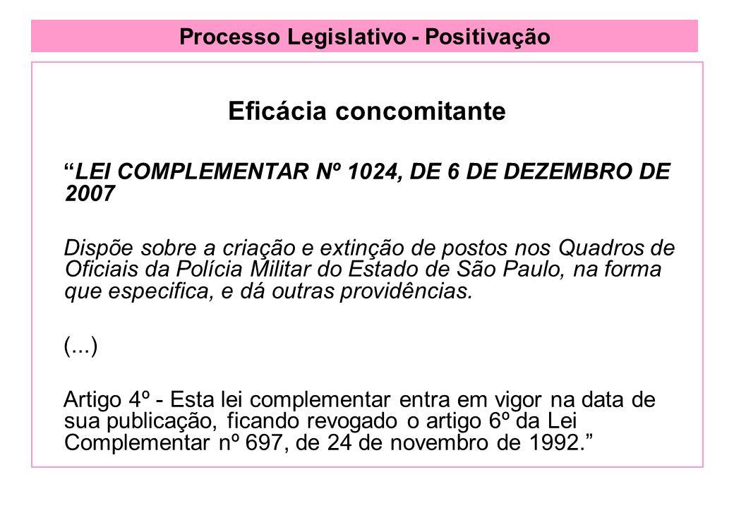 Processo Legislativo - Positivação Eficácia concomitante LEI COMPLEMENTAR Nº 1024, DE 6 DE DEZEMBRO DE 2007 Dispõe sobre a criação e extinção de postos nos Quadros de Oficiais da Polícia Militar do Estado de São Paulo, na forma que especifica, e dá outras providências.