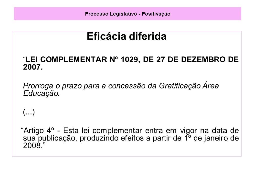 Processo Legislativo - Positivação Eficácia diferida LEI COMPLEMENTAR Nº 1029, DE 27 DE DEZEMBRO DE 2007.