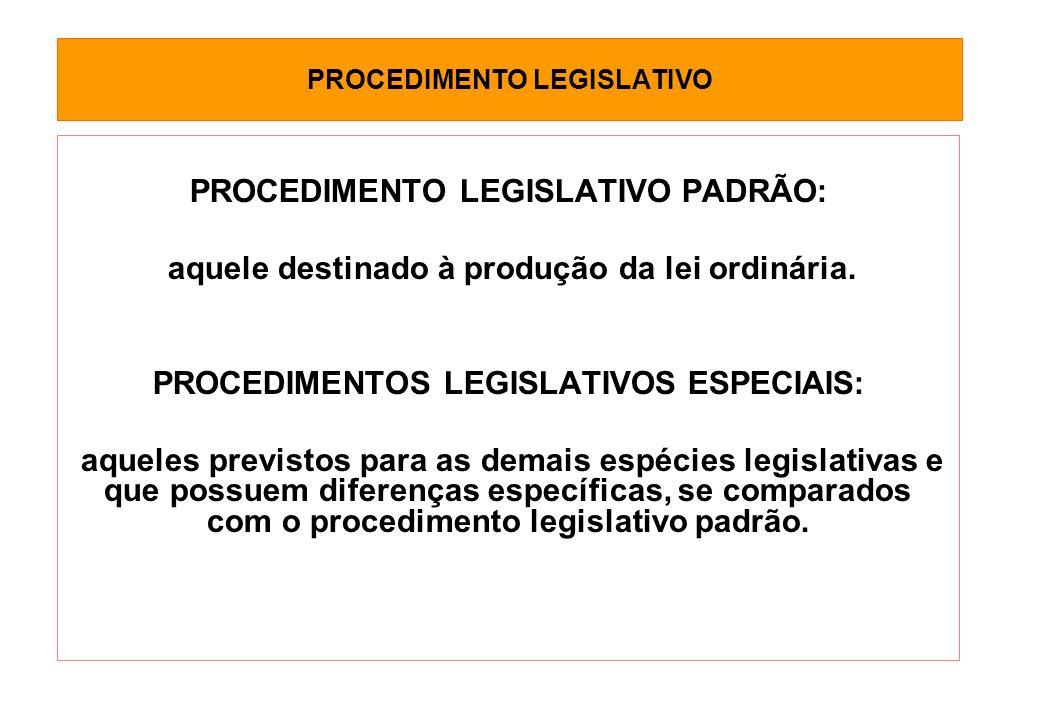 PROCEDIMENTO LEGISLATIVO PROCEDIMENTO LEGISLATIVO PADRÃO: aquele destinado à produção da lei ordinária.