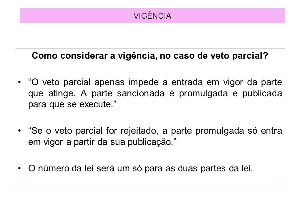 VIGÊNCIA Como considerar a vigência, no caso de veto parcial.
