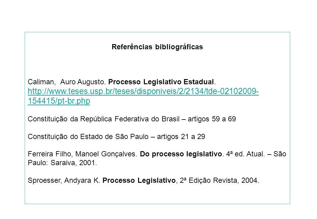 Referências bibliográficas Caliman, Auro Augusto. Processo Legislativo Estadual.
