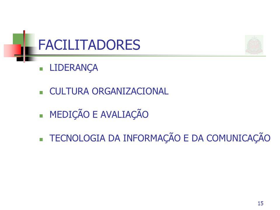 15 FACILITADORES LIDERANÇA CULTURA ORGANIZACIONAL MEDIÇÃO E AVALIAÇÃO TECNOLOGIA DA INFORMAÇÃO E DA COMUNICAÇÃO