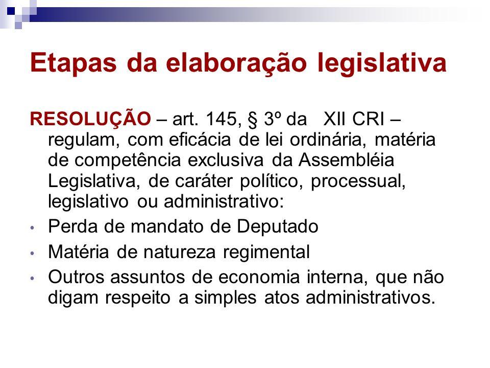 Etapas da elaboração legislativa RESOLUÇÃO – art. 145, § 3º da XII CRI – regulam, com eficácia de lei ordinária, matéria de competência exclusiva da A
