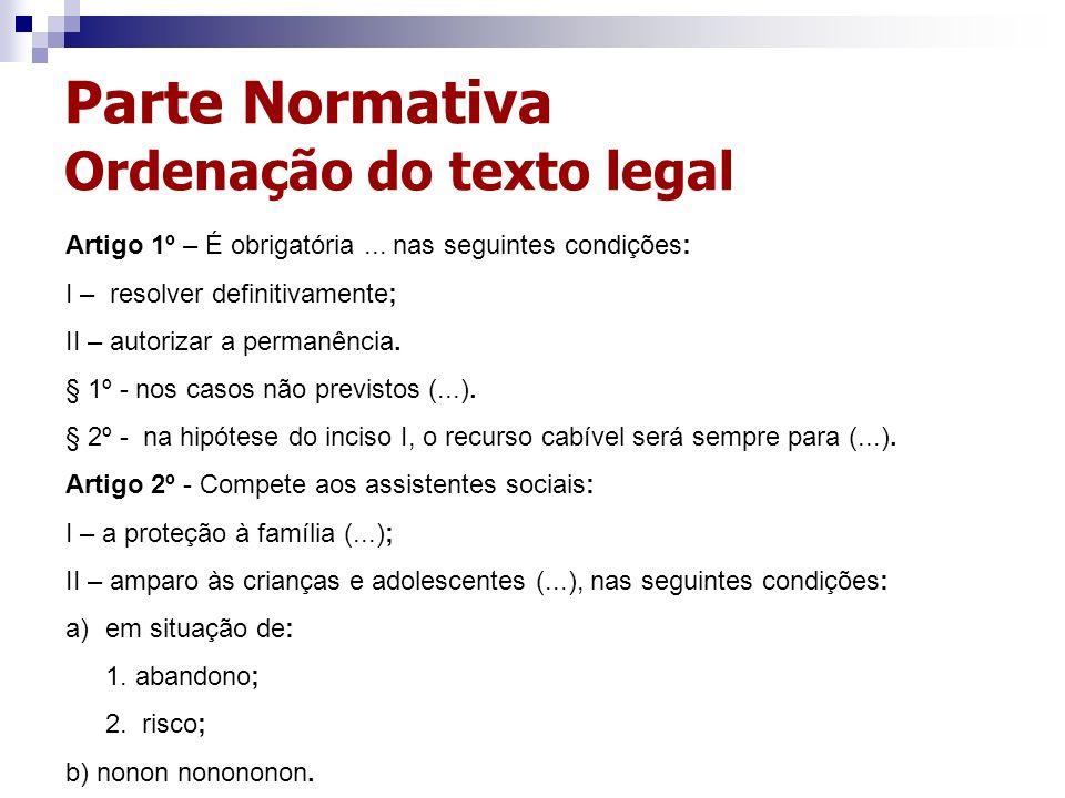 Parte Normativa Ordenação do texto legal Artigo 1º – É obrigatória... nas seguintes condições: I – resolver definitivamente; II – autorizar a permanên