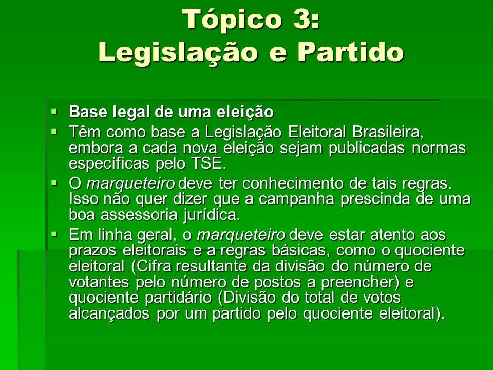 Tópico 3: Legislação e Partido Base legal de uma eleição Base legal de uma eleição Têm como base a Legislação Eleitoral Brasileira, embora a cada nova