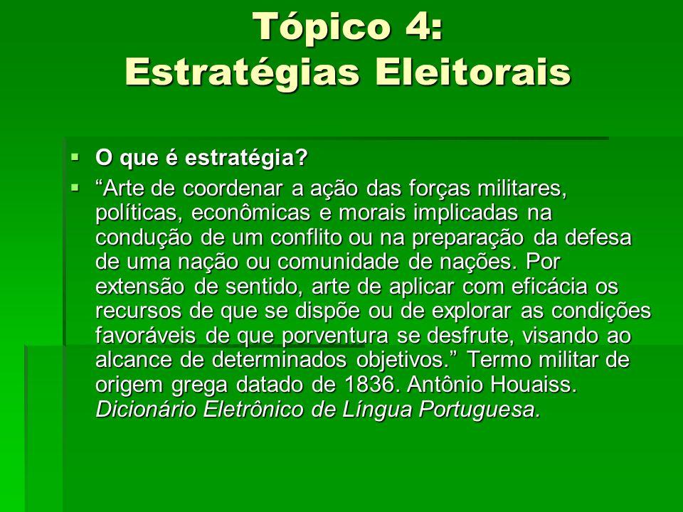 Tópico 4: Estratégias Eleitorais O que é estratégia? O que é estratégia? Arte de coordenar a ação das forças militares, políticas, econômicas e morais