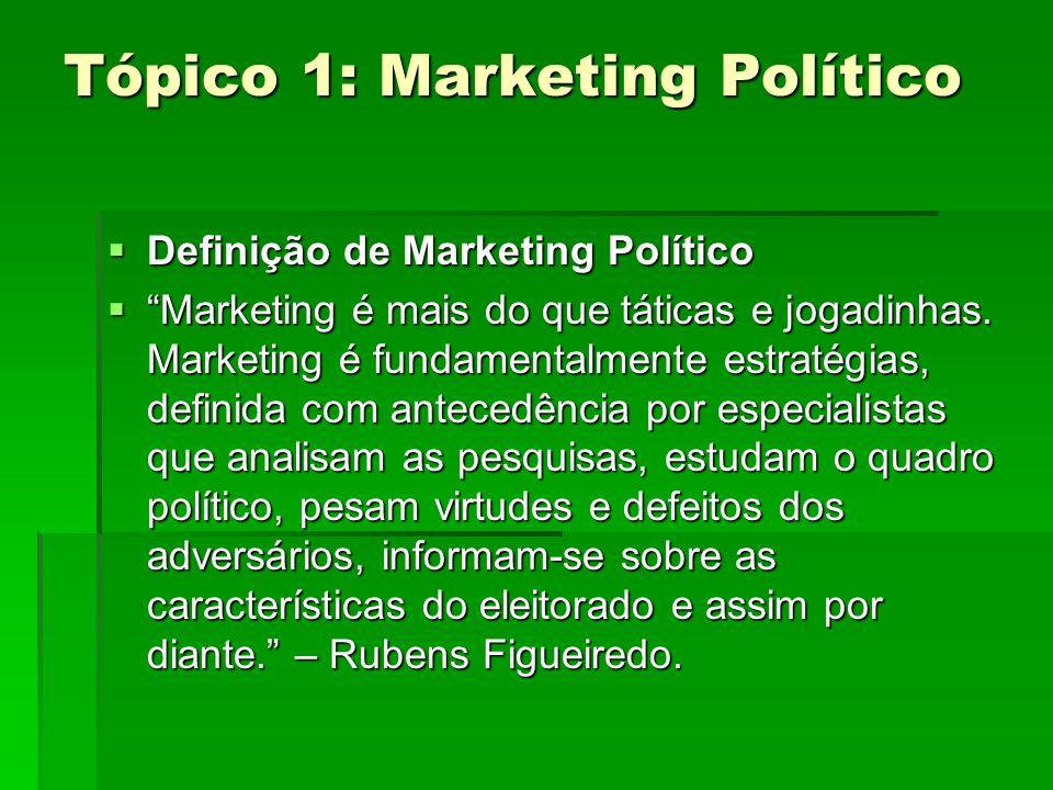 Tópico 1: Marketing Político Definição de Marketing Político Definição de Marketing Político Marketing é mais do que táticas e jogadinhas. Marketing é