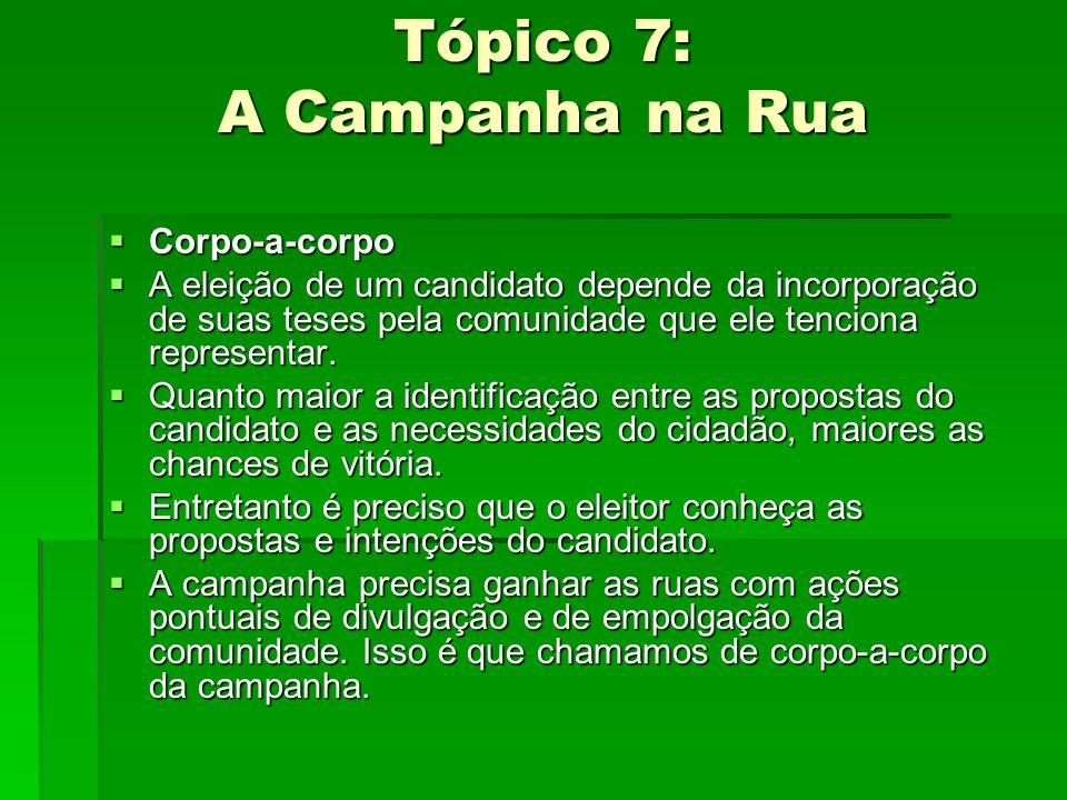 Tópico 7: A Campanha na Rua Corpo-a-corpo Corpo-a-corpo A eleição de um candidato depende da incorporação de suas teses pela comunidade que ele tencio