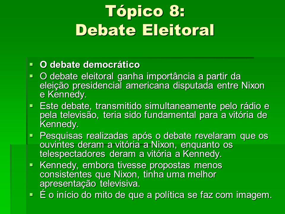 Tópico 8: Debate Eleitoral O debate democrático O debate democrático O debate eleitoral ganha importância a partir da eleição presidencial americana d