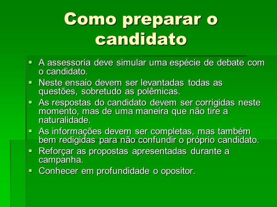 Como preparar o candidato A assessoria deve simular uma espécie de debate com o candidato. A assessoria deve simular uma espécie de debate com o candi