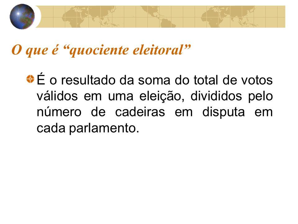 O que é quociente eleitoral É o resultado da soma do total de votos válidos em uma eleição, divididos pelo número de cadeiras em disputa em cada parlamento.