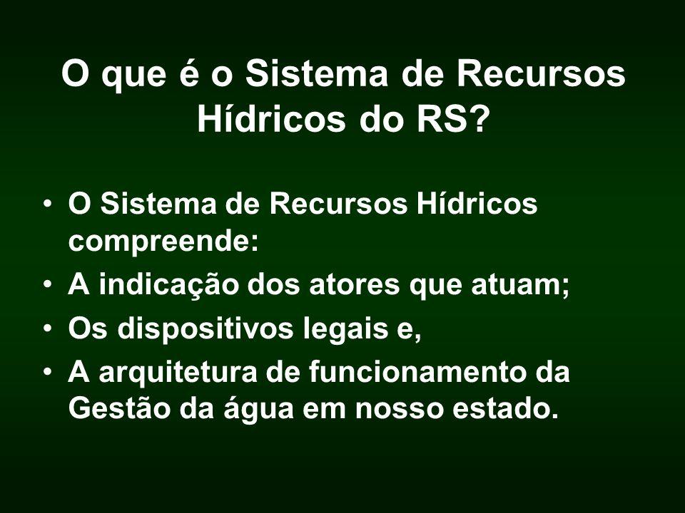 O que é o Sistema de Recursos Hídricos do RS? O Sistema de Recursos Hídricos compreende: A indicação dos atores que atuam; Os dispositivos legais e, A