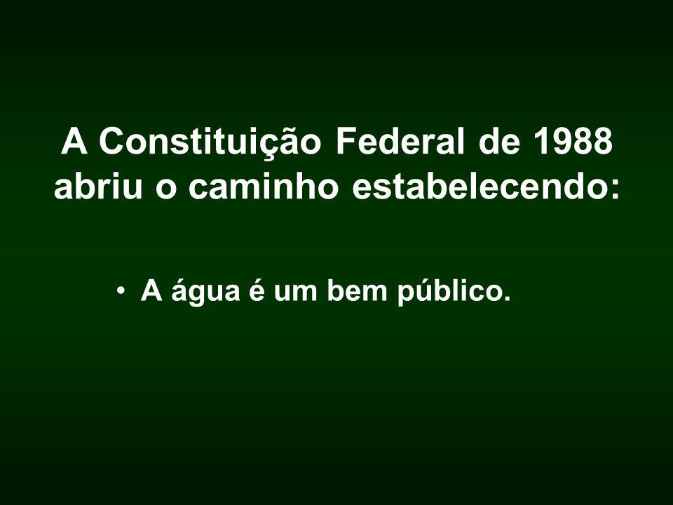 A Constituição Federal de 1988 abriu o caminho estabelecendo: A água é um bem público.