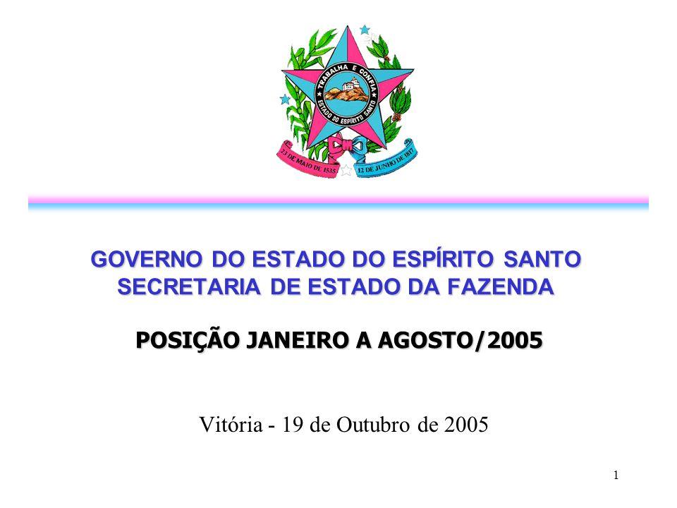 1 GOVERNO DO ESTADO DO ESPÍRITO SANTO SECRETARIA DE ESTADO DA FAZENDA POSIÇÃO JANEIRO A AGOSTO/2005 Vitória - 19 de Outubro de 2005
